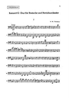Konzert für Bratsche, Streicher und Basso Continuo in G-Dur, TWV 51:G9: Cellostimme by Georg Philipp Telemann
