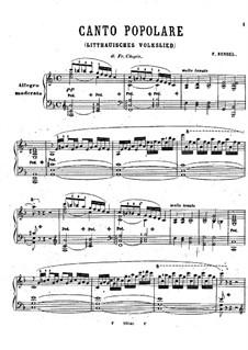 Canto Popolare: Canto Popolare by Franz Bendel