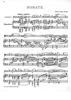 Sonate für Cello und Klavier Nr.1, Op.12: Partitur by Gustav Jensen