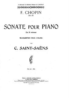 Sonate für Klavier Nr.2 in b-Moll, Op.35: Für zwei Klaviere, vierhändig by Frédéric Chopin