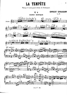 La tempête, Op.18: Danse rustique, for Piano by Ernest Chausson