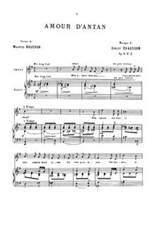 Vier Melodien für Stimme und Klavier, Op.8: No.2 Amour d'antan by Ernest Chausson