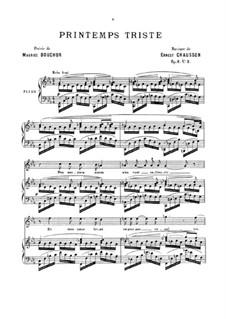 Vier Melodien für Stimme und Klavier, Op.8: No.3 Printemps triste by Ernest Chausson