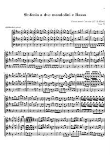 Sinfonie für zwei Mandolinen und Basso Continuo: Vollpartitur by Gioacchino Cocchi