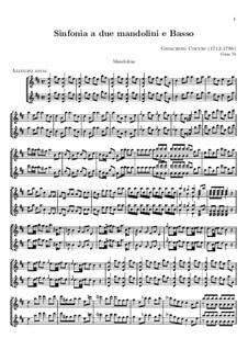 Sinfonie für zwei Mandolinen und Basso Continuo: Mandolinenstimme by Gioacchino Cocchi