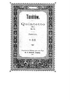 Streichquintett Nr.1 in G-Dur, Op.14: Vollpartitur by Sergei Taneyev