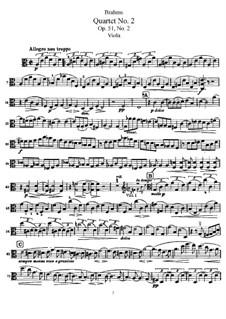 Streichquartett Nr.2 in a-Moll, Op.51: Bratschenstimme by Johannes Brahms