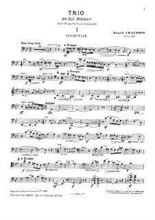 Klaviertrio in g-Moll, Op.3: Cellostimme by Ernest Chausson