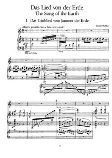Der Trunkene im Frühling: Das Trinklied vom Jammer der Erde, für Stimme und Klavier by Gustav Mahler