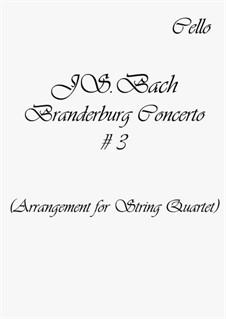 Brandenburgisches Konzert Nr.3 in G-Dur, BWV 1048: Bearbeitung für Streichquartett – Stimmen by Johann Sebastian Bach