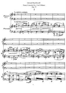 Klavierkonzert Nr.2, Op.23: Teile I-II. Bearbeitung für zwei Klaviere, vierhändig by Edward MacDowell