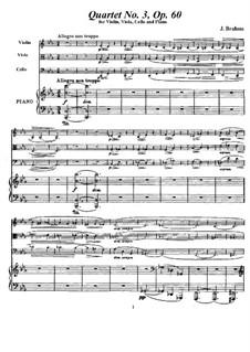 Klavierquartett Nr.3 in c-Moll, Op.60: Partitur, Stimmen by Johannes Brahms
