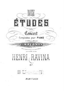 Zwölf Konzert-Etüden, Op.1: Zwölf Konzert-Etüden by Jean-Henri Ravina