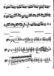 Vierundzwanzig Capricen, Op.1: Caprice Nr.21, für Gitarre by Niccolò Paganini