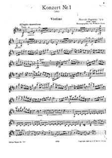 Konzert für Violine und Orchester Nr.1 in D-Dur, Op.6: Solostimme by Niccolò Paganini