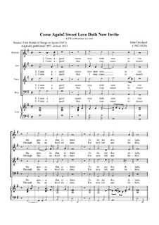 Come Again: For voices and lute by John Dowland