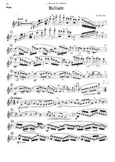 Ballade für Flöte, Harfe und Orchester: Version für Flöte und Klavier – Flötenstimme by Albert Périlhou