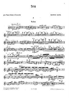 Klaviertrio in a-Moll, M.67: Streicherstimmen by Maurice Ravel