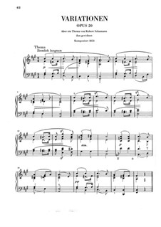 Variationen über Thema von R. Schumann, Op.20: Variationen über Thema von R. Schumann by Clara Schumann