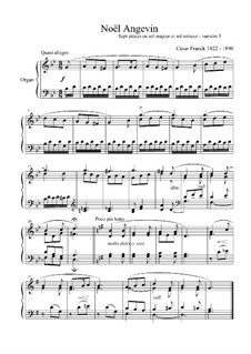 L'Organiste. Neunundfünfzig Stücke für Harmonium: Stück Nr.5 in g-Moll 'Noël Angevin' by César Franck