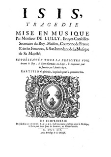 Isis, LWV 54: Vollpartitur by Jean-Baptiste Lully