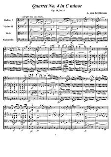 Quartett Nr.4 in c-Moll: Vollpartitur und Stimmen by Ludwig van Beethoven