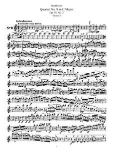 Streichquartett Nr.9 in C-Dur, Op.59 No.3: Violinstimme I by Ludwig van Beethoven