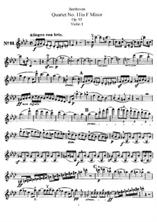 Streichquartett  Nr.11 in f-Moll 'Serioso', Op.95: Violinstimme I by Ludwig van Beethoven