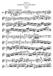 Streichquartett Nr.13 in B-Dur, Op.130: Violinstimme I by Ludwig van Beethoven