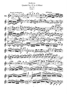 Streichquartett Nr.15 in a-Moll, Op.132: Violinstimme I by Ludwig van Beethoven