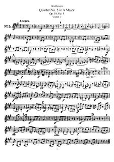 Quartett Nr.5 in A-Dur: Violinstimme II by Ludwig van Beethoven