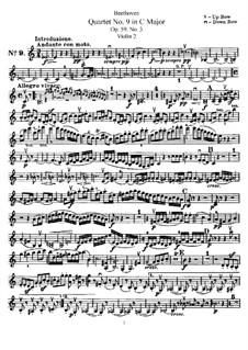 Streichquartett Nr.9 in C-Dur, Op.59 No.3: Violinstimme II by Ludwig van Beethoven