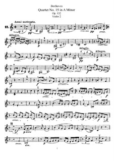 Streichquartett Nr.15 in a-Moll, Op.132: Violinstimme II by Ludwig van Beethoven
