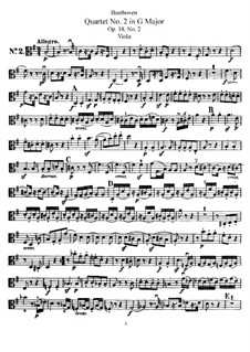 Quartett Nr.2 in G-Dur: Bratschenstimme by Ludwig van Beethoven
