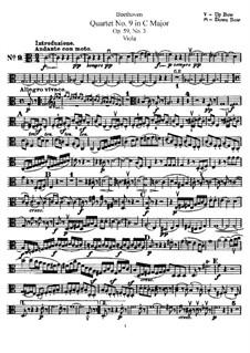 Streichquartett Nr.9 in C-Dur, Op.59 No.3: Bratschenstimme by Ludwig van Beethoven