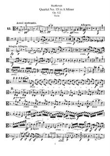 Streichquartett Nr.15 in a-Moll, Op.132: Bratschenstimme by Ludwig van Beethoven