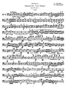 Streichquartett Nr.7 in F-Dur, Op.59 No.1: Cellostimme by Ludwig van Beethoven