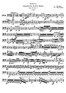 Streichquartett Nr.8 in e-Moll 'Rasumofsky-Quartette', Op.59 No.2: Cellostimme by Ludwig van Beethoven