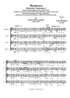 Memorare (Remember) - Prayer to the Virgin Mary for Choir SATB a cappella, CS064: Memorare (Remember) - Prayer to the Virgin Mary for Choir SATB a cappella by Santino Cara