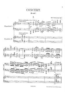 Klavierkonzert Nr.1 in b-Moll, Op.1: Teil I, für zwei Klaviere, vierhändig by Wilhelm Stenhammar