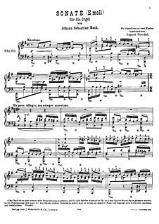 Triosonate für Orgel Nr.4 in e-Moll, BWV 528: Version für Klavier by Johann Sebastian Bach