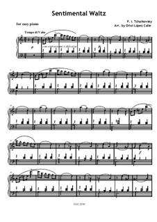 Sechs Stücke für Klavier, TH 143 Op.51: No.6 Sentimental Waltz, for easy piano by Pjotr Tschaikowski