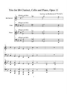 Trio für Klarinette, Cello und Klavier Nr.4 'Gassenhauer', Op.11: Partitur by Ludwig van Beethoven