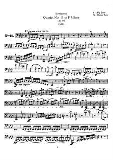 Streichquartett  Nr.11 in f-Moll 'Serioso', Op.95: Cellostimme by Ludwig van Beethoven