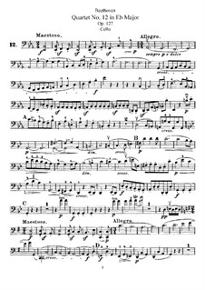 Streichquartett Nr.12 in Es-Dur, Op.127: Cellostimme by Ludwig van Beethoven