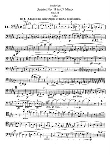 Streichquartett Nr.14 in cis-Moll, Op.131: Cellostimme by Ludwig van Beethoven