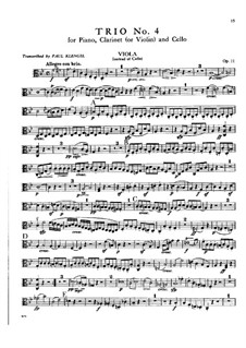 Trio für Klarinette, Cello und Klavier Nr.4 'Gassenhauer', Op.11: Bratschenstimme by Ludwig van Beethoven