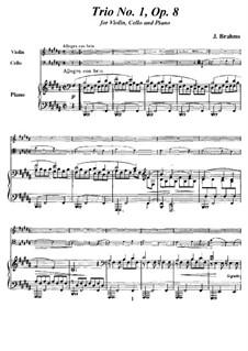 Klaviertrio Nr.1 in H-Dur, Op.8: Vollpartitur, Stimmen by Johannes Brahms