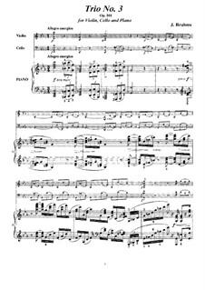 Klaviertrio Nr.3 in c-Moll, Op.101: Vollpartitur, Stimmen by Johannes Brahms
