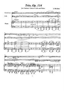 Trio für Klarinette, Cello und Klavier, Op.114: Vollpartitur, Stimmen by Johannes Brahms